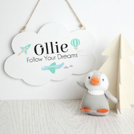 Personalised Follow Your Dreams Cloud Wall Hanging Sign